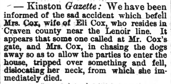 Death of Sarah Cox, 2nd wife of Eli Cox - version from Wilmington Paper